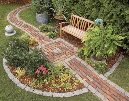 <b>Garden path and bench</b></br> Integrate a seating area into the pathway.
