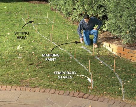 <b>Photo 1: Start by laying out the path</b></br> Lay out the path on the grass with stakes and marking paint. Define the sitting area first, the starting and ending points next, and then connect them.