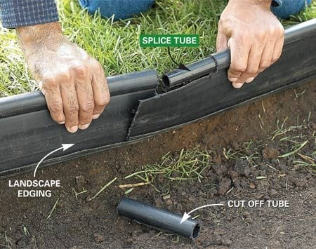 <b>Photo 3: Install edging</b></br> Set landscape edging along the vertical cut edge. Splice sections by cutting away 7 in. of the top tube, inserting a splice tube, then overlapping the sections.