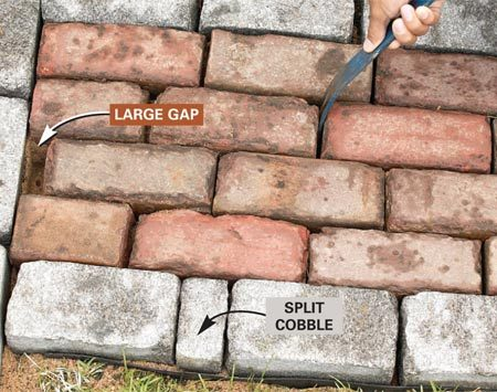 <b>Photo 13: Adjust spacing</b></br> Hide large gaps up to 1-1/2 in. by shifting adjacent pavers up to 1/4 in. apart. Avoid using paver pieces less than about 1-1/2 in. long.