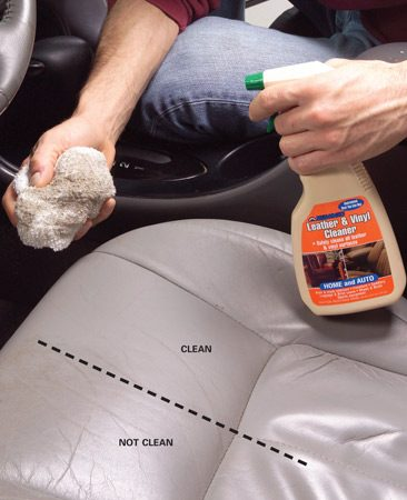 <b>Photo 3: Clean and condition leather or vinyl</b><br/>Use specialized cleaner, then follow later with conditioner.