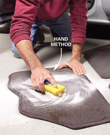 <b>Hand scrub floor mats</b><br/>Elbow grease and spray-on carpet cleaner works well, too.