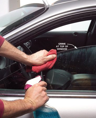 <b>Photo 6: Wash the windows and top edges</b><br/>Don&rsquo;t forget the grime at the top of all windows.