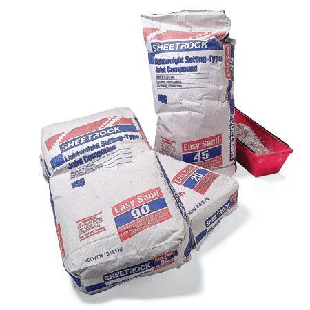 "<b>Photo 4: Setting type joint compound bags</b></br> Setting-type compound comes in sacks with various hardening rates printed on the bags—20, 45- or 90-min. Buy ""lightweight"" setting-type compound, because it's sandable in case you overfill."