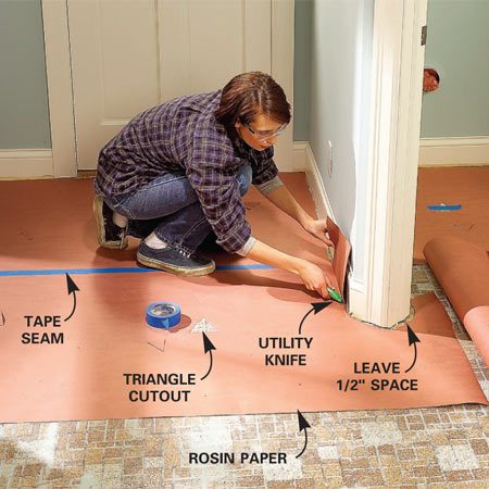 <b>Photo 4: Trim paper into a template</b></br> Cut heavy paper to fit within 1/2 in. of the walls and tape it to the floor through triangle-shaped cutouts. Tape the seams together to make a large single paper template.