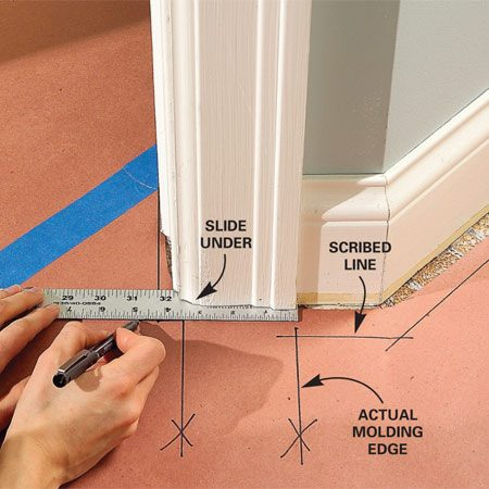 "<b>Photo 6: Mark the door jambs and moldings carefully</b></br> Slide the straightedge under the cutoff moldings and doorjambs before marking the template. Mark the edges of moldings. Put an ""X"" on these lines to indicate actual rather than scribed lines."