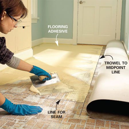 <b>Photo 11: Apply the adhesive</b></br> Spread adhesive evenly over the floor with a notched trowel (1/16 x 1/16 x 3/32-in. notches). Hold the trowel at a 60-degree angle. Keep the adhesive in a straight line at the center. Let the adhesive set the specified length of time.