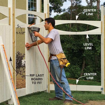<b>Photo 11: Add the top rails and paneling</b></br> Screw the top rails to the cleats on the 1-1/4 in. side with 1-1/4 in. deck screws. Cut a 1x6 fence board to length, center it between posts and tack it 2 in. above the lower edge of the upper rail. Add other boards according to the pattern, spacing each about 1/4 in. apart.