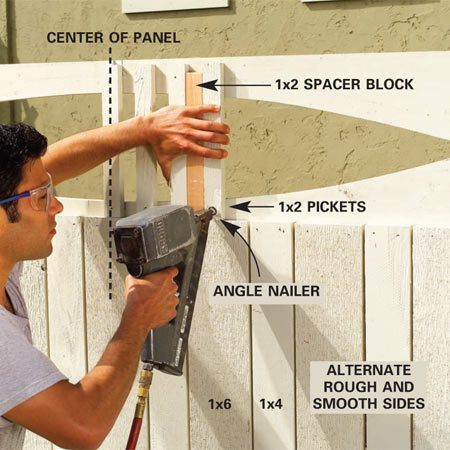 <b>Photo 12: Nail up the 1x2 pickets</b><br/>Cut 12-in.-long 1x2 pickets. Center and tack the first one, then space the others with a 1-1/2-in. block and tack them. Use 1-1/2- in.-galvanized finish nails driven at an angle.