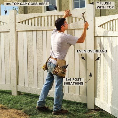 <b>Photo 15: Install post trim and caps</b><br/>Cut 1x6s to post length and nail them over the exposed faces of the 4x4 posts. Use pairs of 2-in. siding nails driven every 8 in. Cut 1x4 top caps to length and nail them on with 2-in. siding nails. Then cut and bevel the post caps and fasten them with two 16d galvanized casing nails driven at opposite corners.