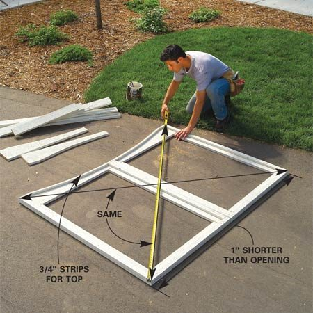 <b>Photo 16: Cut and assemble the frame</b><br/>Mark and cut the curved top gate rails the same way as the fence rails, minus 1 in. Cut and assemble the rest of the frame parts as shown in Figure B. Square them by measuring diagonals and adjusting the frame parts until the diagonals are equal.
