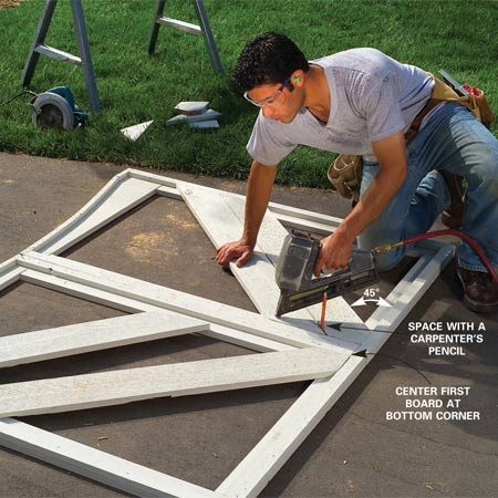 <b>Photo 17: Add the panel boards</b><br/>Cut 45-degree angles on one end of two 1x6s and lay the points in the lower corners of the frames. Mark the other ends and cut and nail them in place. Cut and nail the rest of the boards, spacing them about 1/4 in.