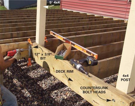 <b>Photo 4: Fasten the new posts</b></br> Cut the 10-ft. 4x4 posts in half, then plumb and clamp them in place. Drill a 1-in. countersink hole 1/2 in. deep, then drill a 3/8-in. diameter hole through the deck rim and post. Install and tighten galvanized hex head bolts and nuts.