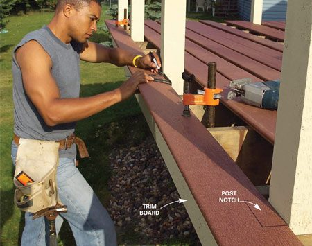 <b>Photo 6: Notch the decking around the posts</b></br> Mark the notches in the first row of decking with a square, allowing for a 1-in. overhang past the cedar trim board.