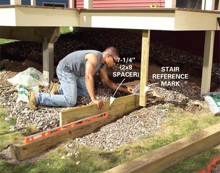 <b>Photo 11: Add gravel for the footings</b></br> Fill and level in gravel about 12 in. below the reference mark. Adjust and level the footing until the timber is level and at the correct height. Use it to set the second timber.