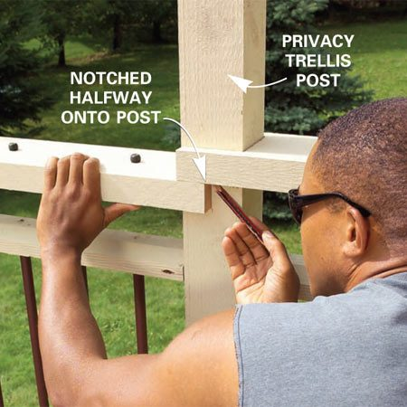 <b>Photo 24: Notch the caps at posts</b></br> Notch one top cap halfway around a trellis post and screw it in place. Cut its neighboring one with a little deeper notch then scribe and cut it to fit.