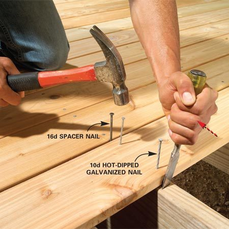 <b>Chisel technique</b></br> Start nails into the deck board. Drive a 3/4-in. wood chisel into the joist and tight to the edge of the deck board with the bevel facing you. Pull back on the chisel until the deck board is tight to your spacer and drive the nails.