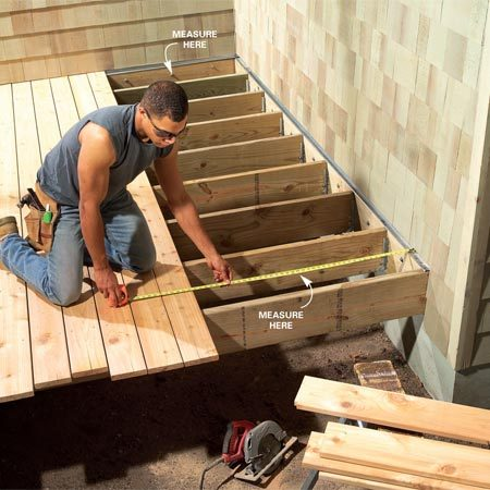 <b>Adjust spacing</b></br> Measure to the house at both ends and in the center when you get within about 5 ft. of the wall. Adjust the spacing gradually over the next 10 rows of decking until the distance to the house is equal.