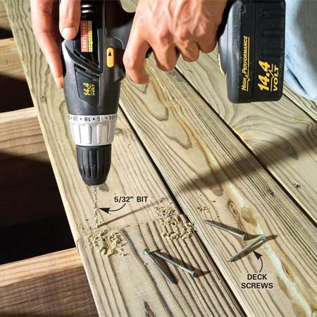 <b>Predrill</b></br> Drill pilot holes for screws at board ends so the wood doesn't split later. Start the holes about 1/2 in. from the end of the board.