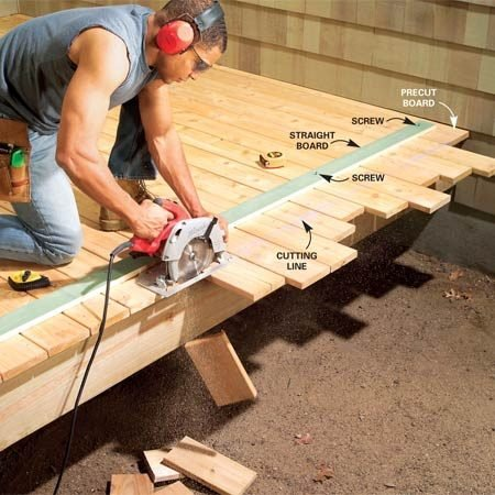 <b>Trim boards after nailing them</b></br> Snap the cutting line on the deck. Then measure from the edge of your saw blade to the edge of your saw's base. Mark that distance from the line and screw down a straight board. Run the saw's base against the straightedge to cut the deck boards perfectly straight.
