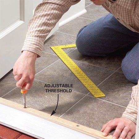<b>Adjust the threshold</b></br> Raise the threshold until you no longer see light gaps under the door.