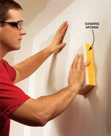 <b>Sanding with sponge</b></br> Dampen a special drywall sponge and smooth out flaws in your final coat of compound.