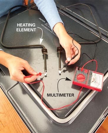 <b>Photo 3: Replace a bad heating element</b></br> Test the element by touching the ends with the two probes of a multimeter. Set the tester to RX-1. The needle should move to the right. If it doesn't, replace the heating element.