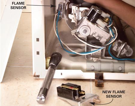 "<b>Photo 6: Test the flame sensor</b></br> Test the flame sensor if the igniter stays on continuously or the igniter tests ""good"" but still doesn't glow. Remove the screw that secures the flame sensor and unplug the wires. Install a new flame sensor and connect the wires."