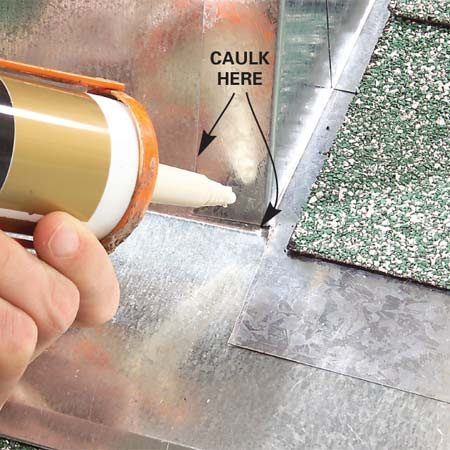 <b>Photo 3: Caulk</b></br> Squeeze a thin bead of caulk over the leftover gap and along the bottom joint.