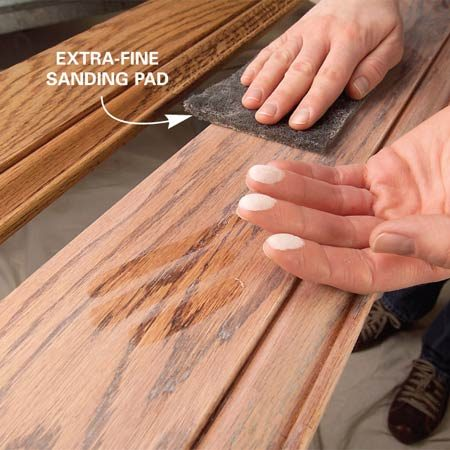 <b>Photo 9: Sand</b></br> Lightly sand the sealer with an extra-fine pad until the finish is smooth to the touch and a uniform flat, frosted color.