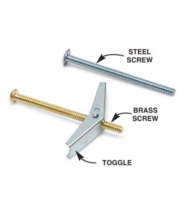 <b>Toggle bolt</b></br> Use a brass screw for the toggle bolt rather than steel to avoid rust.