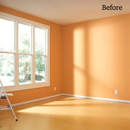 <b>Photo 1: Before</b></br> Pry off the baseboard in the room and make any necessary wall repairs. Paint the walls.