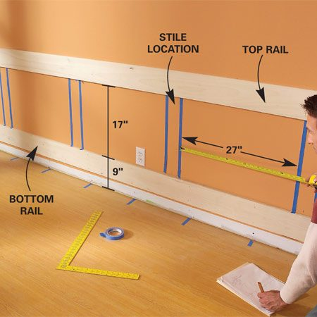 <b>Photo 3: Tack the horizontal rails</b></br> Tack the 1x6 top rail even with the 31-1/2-in. mark. Nail the bottom 1x6 rail parallel at 9 in. above the floor. Then mark the best positions for the vertical stiles.