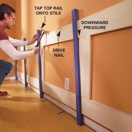 <b>Photo 9: Clamp </b></br> Drive homemade friction clamps at an angle to tighten the joints. Nail the top rail into the wall studs as you go.