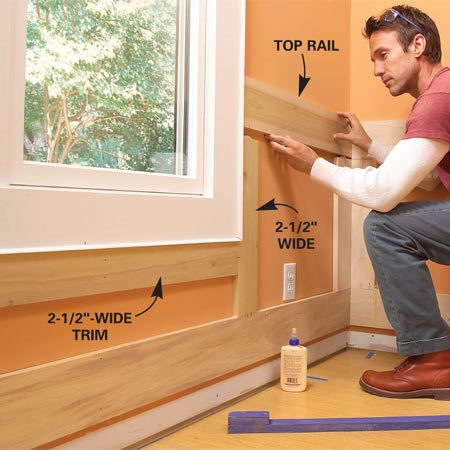 <b>Photo 11: Butt top rails to the window</b></br> Cut biscuit slots into the top rail and fit the rail onto the stiles, butting it tightly to the corner and window trim. Clamp and nail it.
