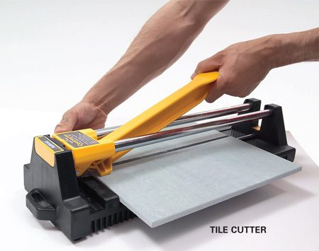 <b>Tile cutter</b></br> A tile cutter is the fastest way to cut tile. Just push the handle forward and a small wheel scores the tile. Then push the handle down and the tile snaps in two. You can't beat a tile cutter for convenience. It makes no mess and you can drag it around the room as you work. But a tile cutter has zero versatility. It makes straight cuts across the entire tile—no curves or corner cuts. Cutting 1 in. or less off a tile can be difficult or impossible. You can rent one at rental centers and some tile shops.
