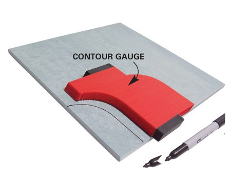 <b>Contour gauge</b></br> A contour gauge  is a great tool for marking troublesome shapes on tile. Just press it against any odd-shaped surface (like the curved corner of a bathtub) and transfer the profile to tile.