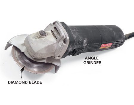 <b>Angle grinder</b></br> An angle grinder equipped with a diamond blade can make straight cuts, curves and notches in any type of tile. Since all your cuts are freehand, this isn't a precision tool, but you can grind away imperfections with the tip of the blade. Use a grinder only outside. Wear a dust mask and eye protection.