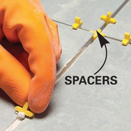<b>Spacers detail</b></br> Keep the gaps between tiles even by using spacers