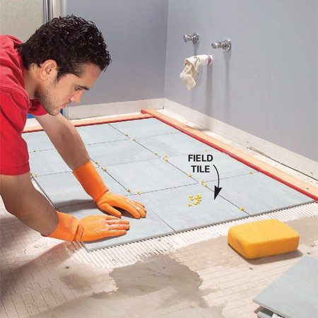 <b>Photo 11: Set the full tiles</b></br> Comb out a few square feet of thin-set and set tile against the guides. Continue until all the full tiles are in place. Tip: Watch for squeeze-out between tiles and rake it out with tile spacers.