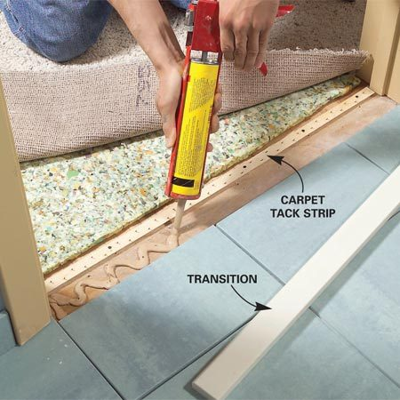 Carpet to tile door strip