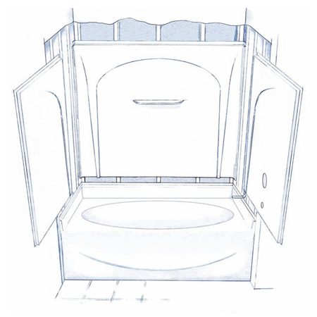 <b>Figure A: Four-piece tub/shower</b></br> Typical four piece tub/shower kit including tub, two end panels and back wall panel