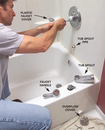 <b>Photo 1: Remove the faucet, tub spout and shower head</b></br> Pry the plastic cover off the faucet and remove the screws that hold the handle and trim plate. Unscrew the tub spout and tub overflow cover.