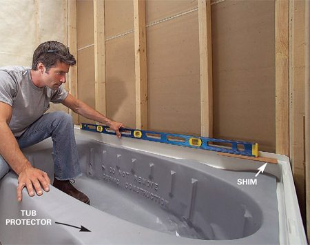 <b>Photo 7: Check for tub level</b></br> Set the new tub into place and check it for level. Figure the shim size needed to level it, then remove the tub and tack the shims at the tub leg positions.
