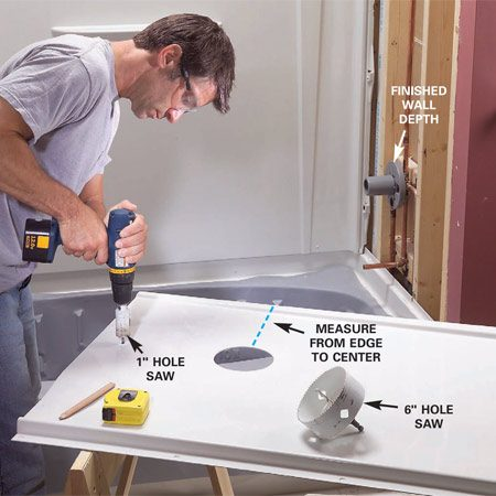<b>Photo 10: Carefully measure for the faucet and spout</b></br> Center and install the new shower valve and copper lines. Then measure the exact centers of the tub spout and valve and lay them out on the end panel. Drill the end panel holes.
