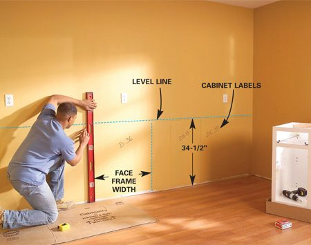 <b>Photo 1: Mark the cabinet height</b></br> Draw a level line on the wall 34-1/2 in. above the highest spot on the floor. Draw vertical lines to mark each cabinet location, label each cabinet's position on the wall and find and mark the studs.