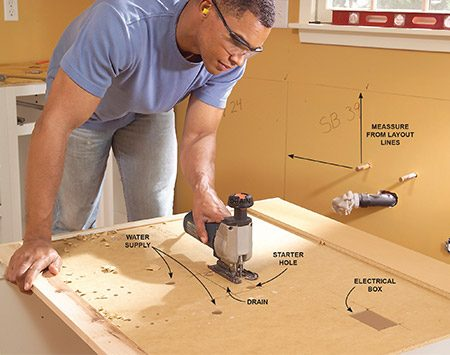 <b>Photo 7: Cut plumbing openings</b></br> Lay out plumbing and electrical openings on the cabinet back, using the layout lines on the wall as reference points. Then drill and/or saw out the openings.