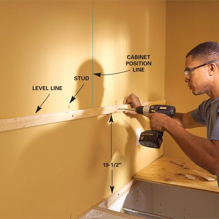 Installing Kitchen Cabinets The Family Handyman - How to hang kitchen cabinets