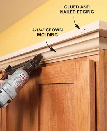 <b>Photo 8: Nail the crown</b></br> Nail the crown molding to the face of the cabinet and up into the shelf at an angle. The molding will completely cover the cuts.
