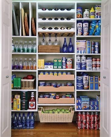 <b>Near-by closet space</b></br> Build a pantry into a near-by closet for less-used kitchen items.